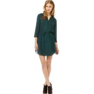 Deep green shirt dress aritzia t babaton